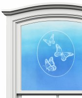 "5"" Oval Triple Butterfly White Window Cling"