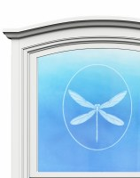 "5"" Oval Dragonfly White Window Cling"