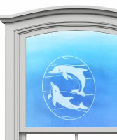 "5"" Oval Dolphin White Window Cling"