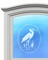 "5"" Oval Heron White Window Cling"