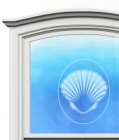 "5"" Oval Scallop White Window Cling"