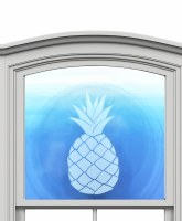 "12"" Circle Pinapple White Window Cling"