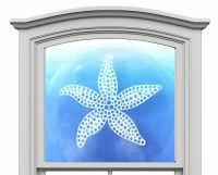 "12"" Circle Starfish White Window Cling"