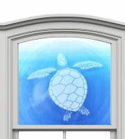 "12"" Circle Turtle White Window Cling"