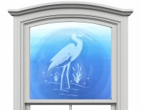 "12"" Circle Heron White Window Clings"