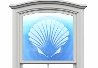 "12"" Circle Scallop White Window Cling"