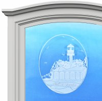 "5"" Oval Sanibel Island Lighthouse White Window Cling"