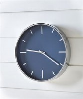 "20"" Round Navy and Silver Clock"