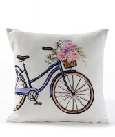 """16"""" Square Blue Bike With Flowers Pillow"""