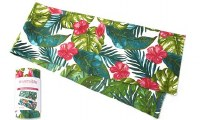 "90"" Pink Hibiscus Tropical Leaves Table Runner"