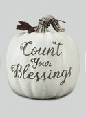 "8"" White Count Your Blessings Pumpkin"