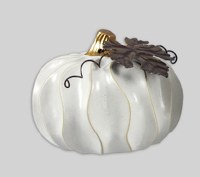 "4"" Squat Distressed White Finish Ceramic Pumpkin"