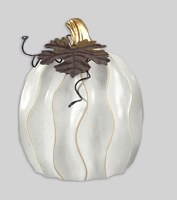 "5"" Tall Distressed White Finish Ceramic Pumpkin"