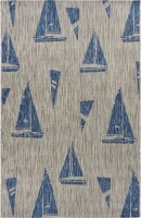5' x 7' Gray and Navy Sailboats Rug