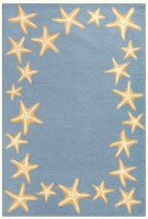 5' x 7.6' Blue Starfish Border Rug