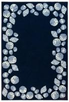 3.6' x 5.6' Navy Seashell Border Rug