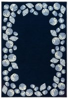 2' x 5' Navy Seashell Border Rug