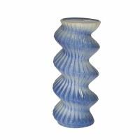 "13"" Blue Spiral Ceramic Pillar Holder"