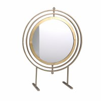"21"" Gold Rings Mirror Metal Sculpture"