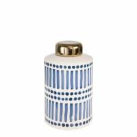 "9"" White and Blue Dot Dash Ceramic Jar"
