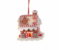 "3"" LED Gingerbread House With Square Door Ornament"