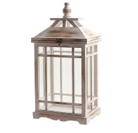 "21"" White Washed Wooden and Glass Rectangle Lantern"
