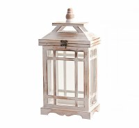 Small White Washed Wooden and Glass Rectangle Lantern