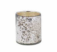 Medium Silver Glass Votive Candle Holder