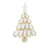 "6"" Clear and Gold Rounded Tree Ornament"