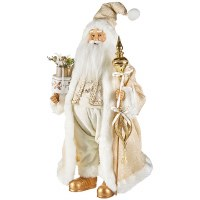 """17"""" Ivory and Gold Santa Figure"""