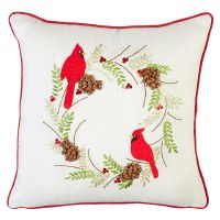 "16"" Square Cardinal Embroidered Pillow"