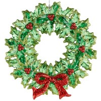 "5.5"" Round Red and Green Wreath Ornament"