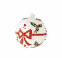 "5"" Holly With Bow Ball Ornament"