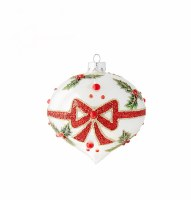 "6"" Holly With Bow Onion Ornament"