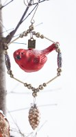 "5"" Cardinal With Pine Cone Glass Ornament"