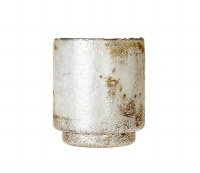 "6.5"" Distressed Silver Finish Glass Candle Votive"