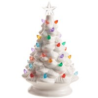 "8"" LED White Ceramic Tree With Multicolored Lights"