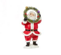 "6"" Santa Holding Wreath Up To His Head"