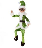 """18"""" Elf With Green Outfit and Glasses"""