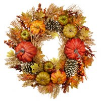 "24"" Round Multicolored Pumpkin Wreath"