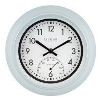 "9"" Round Blue Inside and Outside Clock With Thermometer"
