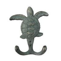 "4"" Verdegris Turtle Double Wall Hook"