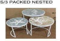 Set of 3 Beach Themed Nesting Tables
