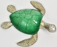 """7"""" Turquoise and Silver Polyresin Turtle"""