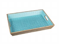 """14"""" x 20"""" Blue and Natural Wooden Tray With Handles"""