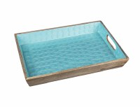"""12"""" x 18"""" Blue and Natural Wooden Tray With Handles"""