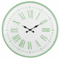 "24"" Round White and Green Metal Clock"