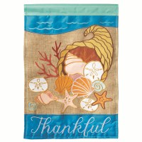 "42"" x 29"" Thankful Shells In Cornucopia Garden Flag"