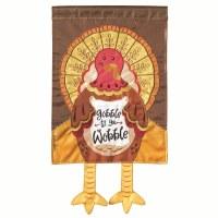 "18"" x 13"" Mini Gobble Turkey With Legs Garden Flag"