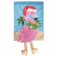 """18"""" x 13"""" Mini Christmas Flamingo With Legs Garden Flag"""